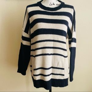 Joan Vass Sweater Knit Relaxed Stripped Pockets M